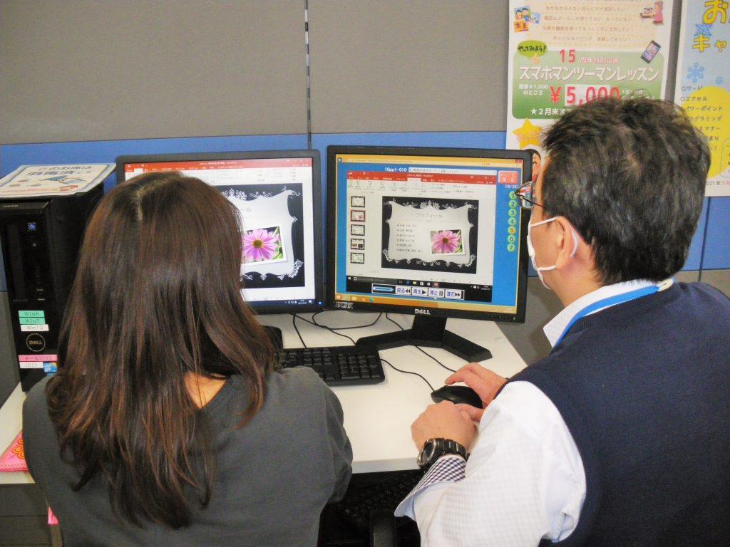 高槻市、パソコン市民IT講座阪急富田駅前教室の受講風景